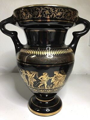 Black & Gold Vase Hand Made In Greece In 24K Gold Ares Demeter Ceres Diana