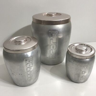 Retro 1960's Anodised - Silver & Pink - Canister Set Of 3X Flour,coffee Tea