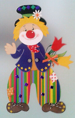 Fensterbild clown auf regenschirm fasching karneval for Karneval dekoration