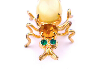 RARE Vintage Antique Art Deco Czech Glass Brooch Insect Spider Rhinestone Green
