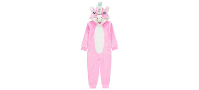 George Girls Unicorn Fleece All In One Nightwear Bnwt Age 2-3 Only Pyjamas