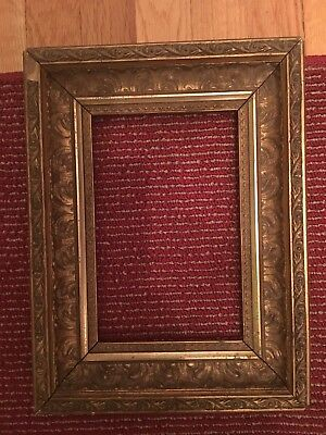 Small Antique Ornate Gilt Wood Gesso Painting Picture Frame