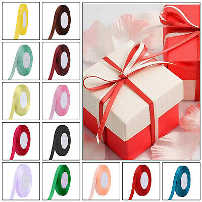 10mm Full Roll Quality Double Sided Faced Satin Valentine Ribbon 28 Colours 25m