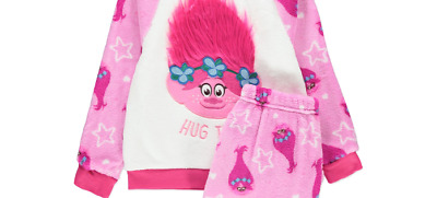 George Girls Dreamworks Trolls Fluffy Pyjamas Nightwear Bnwt All Ages