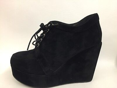 Brand New Boxed Ladies Black Lace Up Wedge Heel Ankle Boots Goth Look 5s & 6s