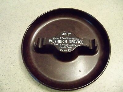 Weyhrich Service~Skelly~Funk's G Hybrid Seed Corn~Foxbilt Feeds Ashtray~Vintage