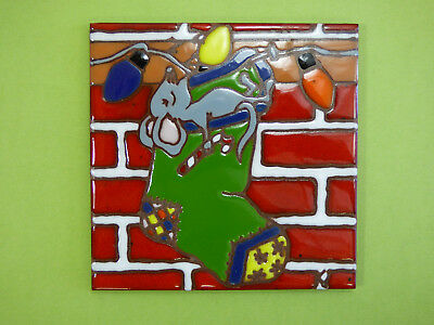 "Ceramic Art Tile 6""x6"" Happy Holiday Christmas Mouse Very Unique trivet wall L4"