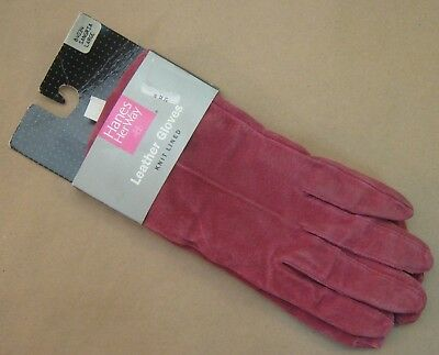 New Vintage 1990's Hanes Her Way size: L Large Knit Lined Leather Gloves 84034