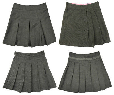 Girls Grey School Skirt Pull on Various Styles 2-10 Years