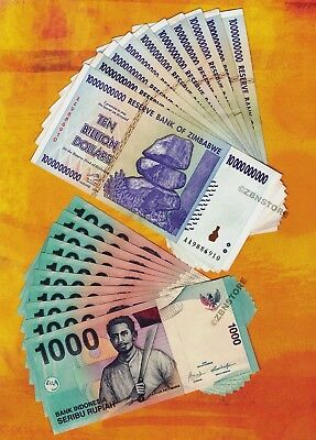 10 x 10 Billion Zimbabwe Dollars + 10 x 1000 Indonesia Rupiah Banknotes Currency