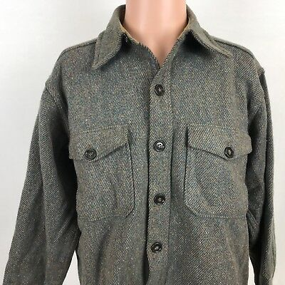 fa4cb60fb20d8 Vintage 80s Woolrich Tweed Heavy Hunting Shirt Jacket L Double Pocket Mens