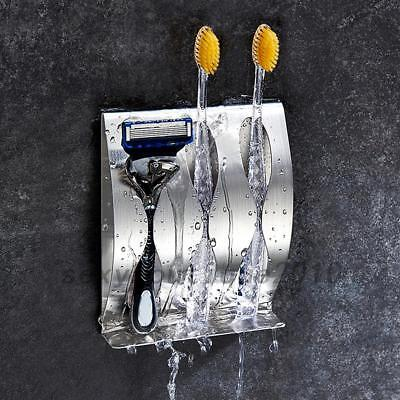 Stainless Steel Wall Mount Toothbrush Stand Holder Bathroom Organizer Rack New
