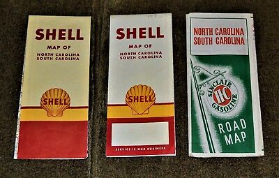 VTG Lot of 3 Road Maps North South Carolina Sinclair 1939 Shell Oil 1953 1959