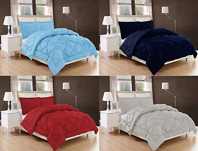 2/3PC Solid Reversible Stitched Quilted Down Alternative Light Weight Bed Cover