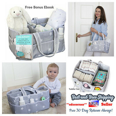 Large Baby Diaper Organizer Storage Caddy Carry Bag Portable w/ Free Bonus Ebook