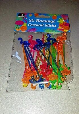 30 Flamingo Cocktail Sticks - Party Time - Brand New - Various Colours
