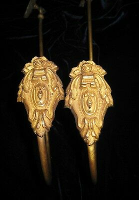 Rare Pair Art Nouveau French Hanging-Style Gilded Drapery Tiebacks Ca 1900