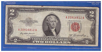 1 1953  Series United States Note Red Seal $2 Two Dollar Bill  LT H576