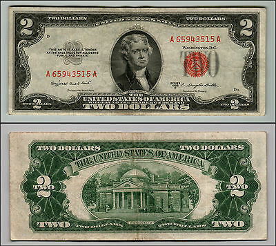 (1)-1953B  Series United States Note Red Seal $2 Two Dollar Bill  LT Q 850