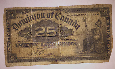 1900 Dominion of Canada 25 Cent Boville Bank Note–very well worn–shipped from US