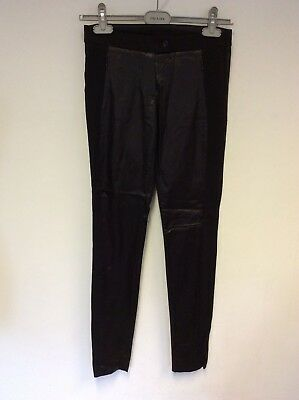Pinko Black Satin Feel Panel Trim Leggings Size 8