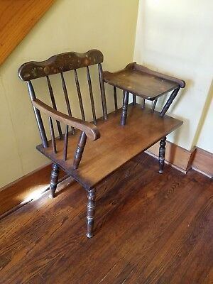 Vintage Gossip Bench Telephone Table Foyer Entry Wood with Fruit Pattern