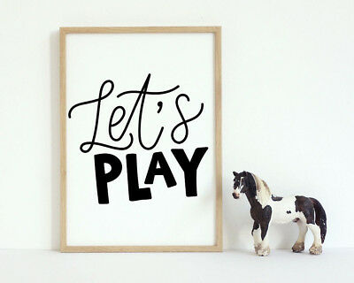 Let's Play Bold Word Black & White Kids Play Room Wall Art Print Sign Decor Gift