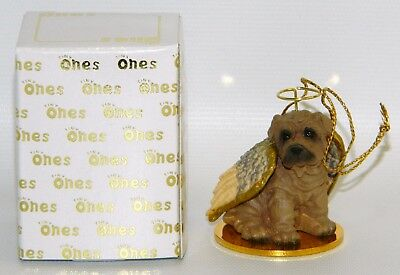 "Shar Pei Dog Figurine Ornament Angel 2"" Miniature Statue Tiny Ones 1996 Brown"