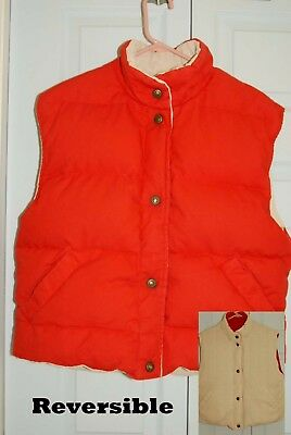 Misty Valley DOWN VEST Reversible Red/ Oatmeal Medium