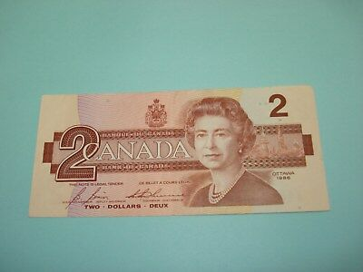 1986 - Canada $2 bank note - Canadian two dollar bill - EGS4985698