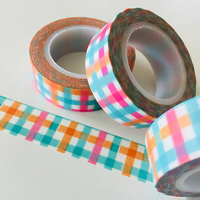 Washi Tape Picnic Gingham Check 15Mm Wide X 10Mtr Roll Planner Wrap Scrap Craft
