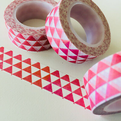 Washi Tape Rows Of Red Triangles 15Mm Wide X 10Mtr Roll Planner Wrap Scrap Craft