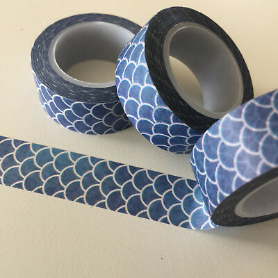 Washi Tape Mermaid Scales Vertical Mid Blue 15Mm X 10Mtr Roll Planner Wrap Craft