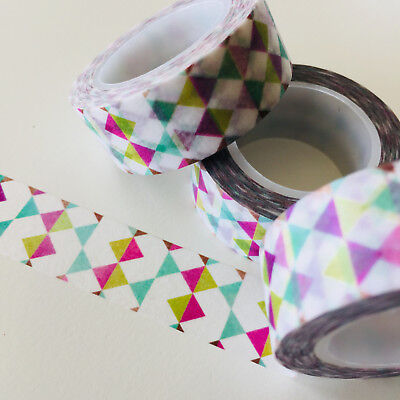 Washi Tape Tempting Triangles 15Mm X 10Mtr Roll Planner Wrap Craft Scrap