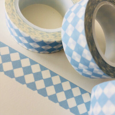 Washi Tape Double Diamonds Pale Blue 15Mm X 10Mtr Roll Planner Wrap Craft Scrap