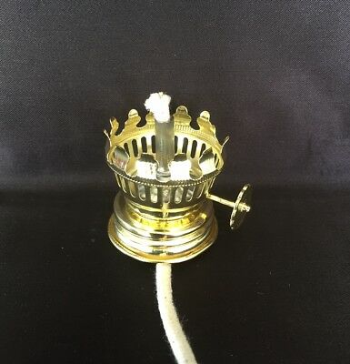 Pixie Size Oil Lamp Burner B with wick and fixed collar.