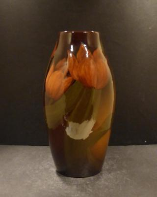 "Rookwood Standard Glaze Vase With Orange Tulips, 10"" by E.T. Hurley - MINT"