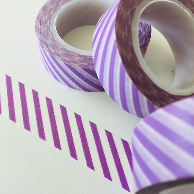Washi Tape Lavender Diagonal Stripes 15Mm X 10Mtr Roll Planner Wrap Craft Scrap