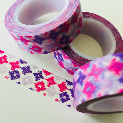 Washi Tape Violet Lavender Pink Batik 15Mm X 10Mtr Roll Planner Wrap Craft Scrap