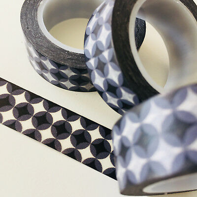Washi Tape Retro Black Spots 15Mm X 10Mtr Roll Planner Wrap Craft Scrap