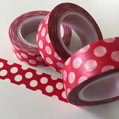 Washi Tape Big Spots On Red 15Mm X 10Mtr Roll Planner Wrap Craft Scrap