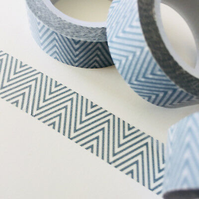 Washi Tape Grey Finer Zigzag 15Mm X 10Mtr Roll Planner Wrap Craft Scrap