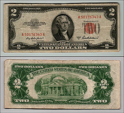 (1)-1953A  Series United States Note Red Seal $2 Two Dollar Bill  LT Z232