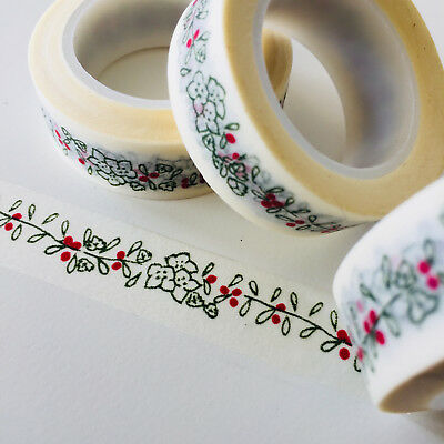 Washi Tape Olive & Red Floral Border 15Mm X 10Mtr Roll Planner Wrap Craft Scrap