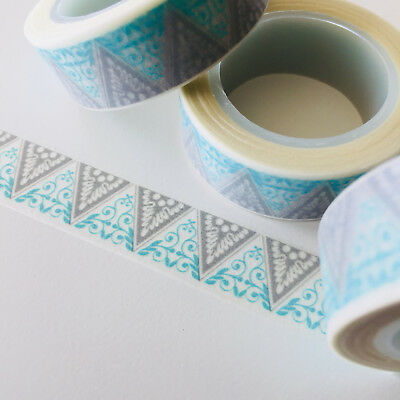 Washi Tape Blue & Grey Lace Triangles 15Mm X 10Mtr Roll Planner Wrap Craft