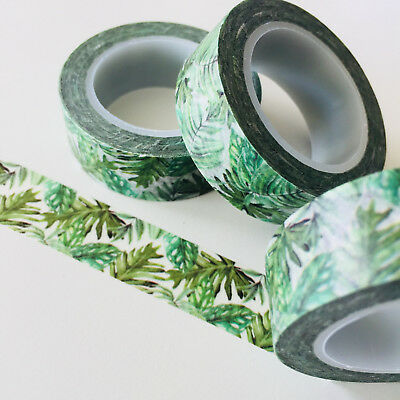 Washi Tape Lush Jungle Leaf 15Mm X 10Mtr Roll Planner Wrap Craft Scrap