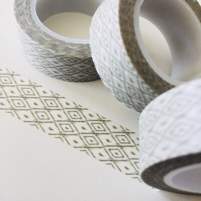 Washi Tape Grey Dotted Diamonds 15Mm X 10Mtr Roll Planner Wrap Craft Scrap