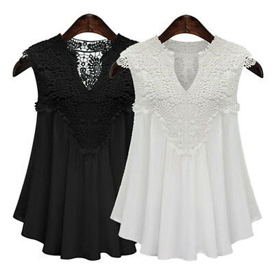 Plus Size Women Summer V Neck Sleeveless Ladies Lace Tops Chiffon Blouse Shirts