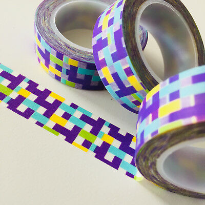 Washi Tape 4 Colour Blocks 15Mm X 10Mtr Roll Planner Wrap Craft Scrap
