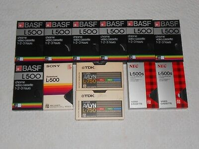 12 Used  Betamax Video Cassette Recording Tape  Lot